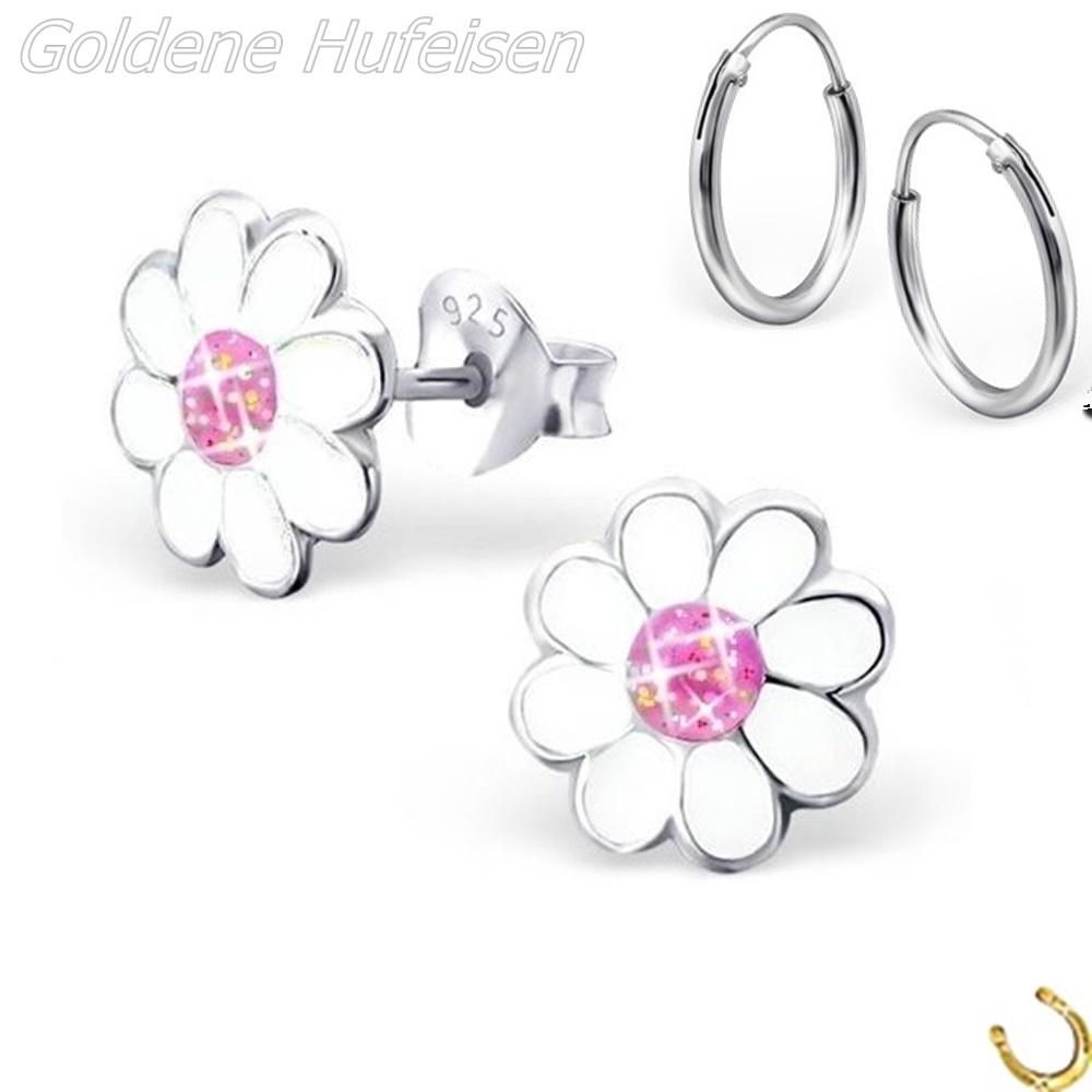 Creolen Ohrringe Silber Emaille Glitzer 14 x 5 Floral Blau Weiß Rosa Blume Retro