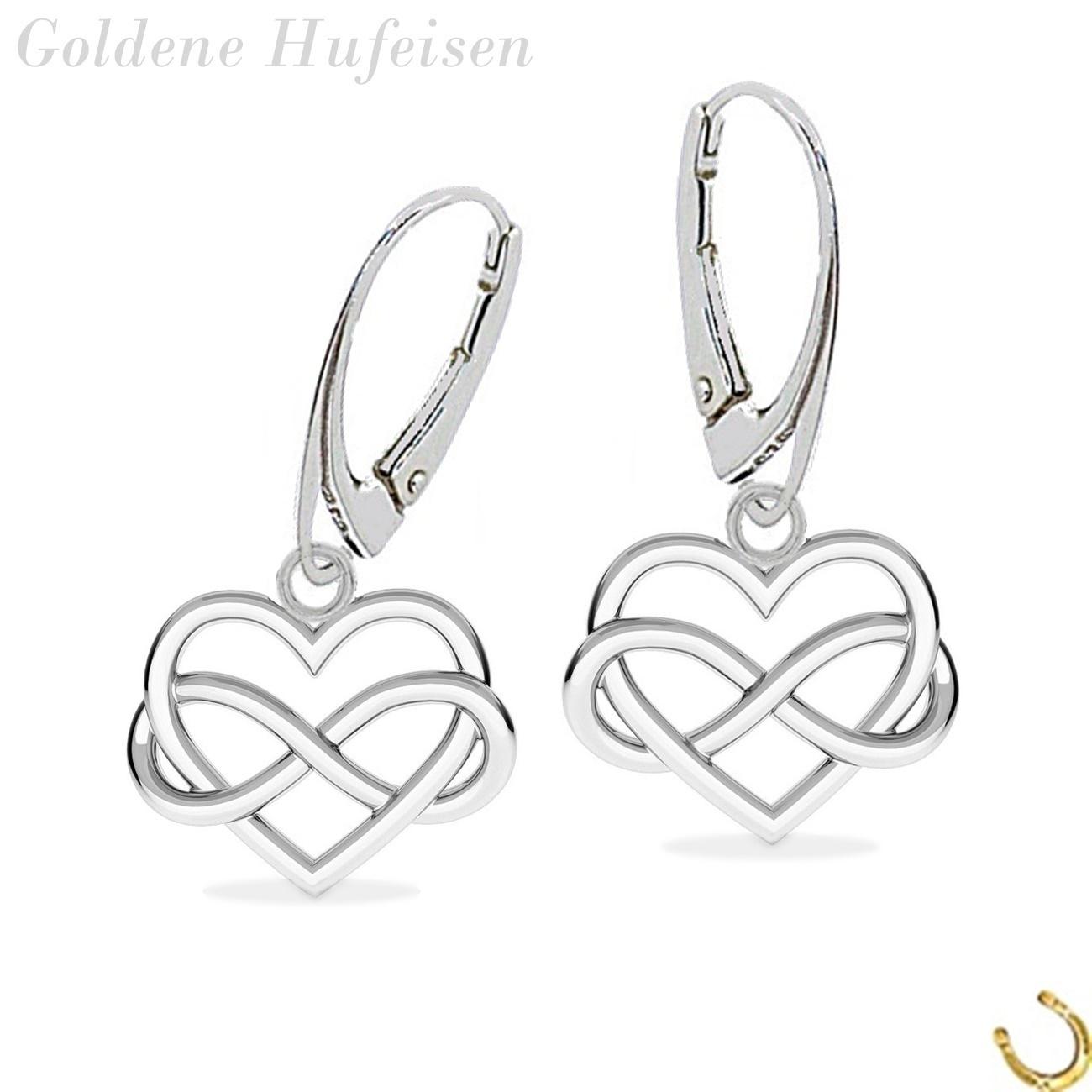 Schmuckset echt 925er Silber gold Ohrringe mit Halskette Herz Unendlichkeit Dame