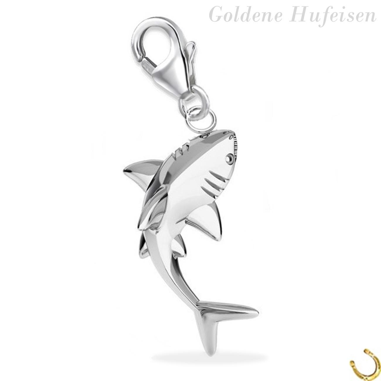 3D Fisch Charm Anhänger Damen 925 Silber für Armband